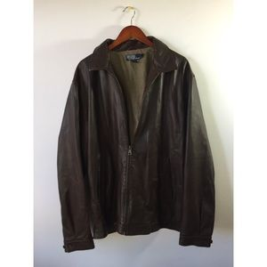 Mens POLO Ralph Lauren Brown Leather Jacket XLT